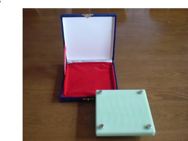 クリスタル表札 L・緑 美麗ケース付き 200x200mm
