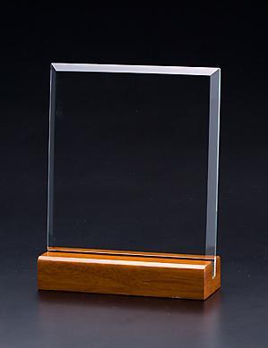 ガラス盾・スクエア L ブルーケース付